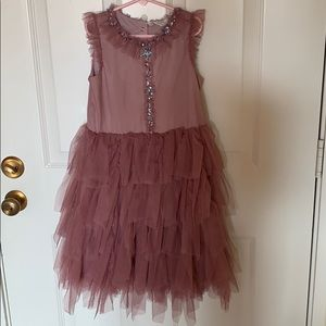 H&M girls pink tulle dress with sequins and stars